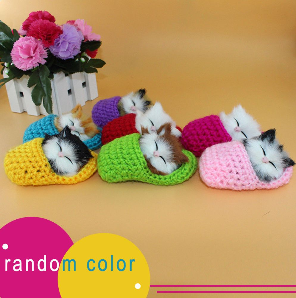Kawaii Slipper with Cat Voice Simulation Figurine Toy Plush Gift Home Decoration