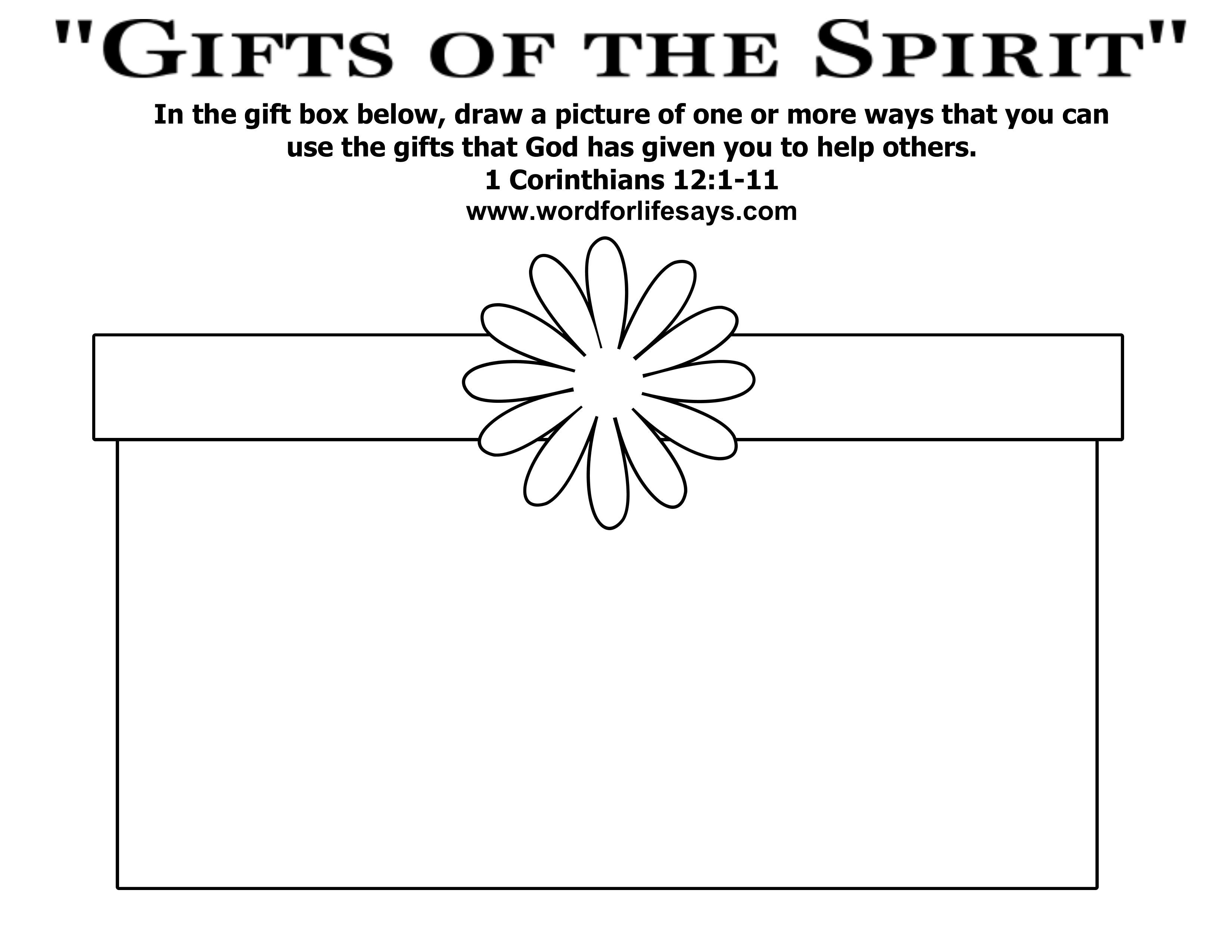 spiritual gifts coloring pages | Gifts from God coloring page - Google Search | Sunday ...