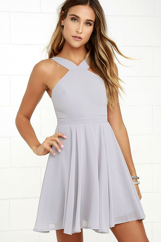 2a1b5f73e8 Our hearts will belong to the Forevermore Grey Skater Dress  til the end of  time! Semi-sheer shoulder straps form a modified halter neckline atop a  fitted ...