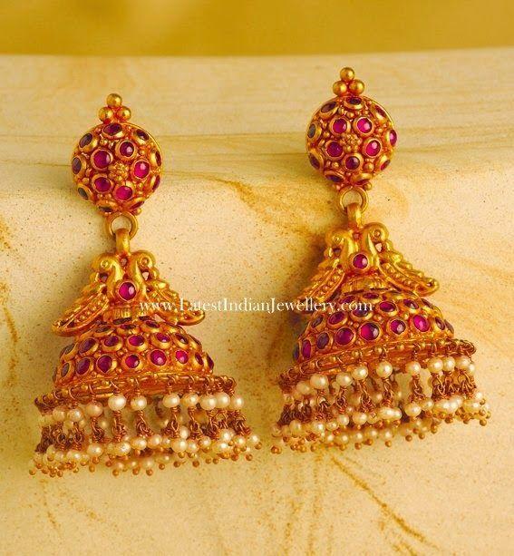 af244472ca83f Ruby Jhumka Earrings in Gold   Earings   Jewelry, Gold jhumka ...