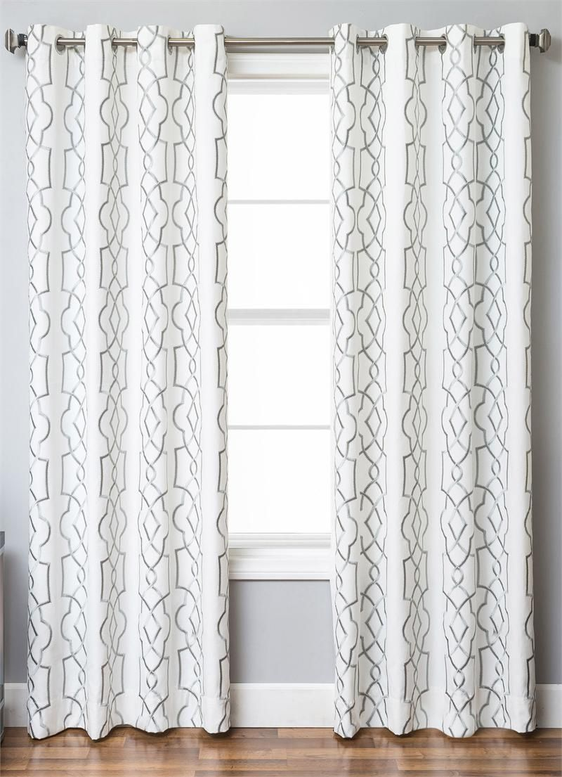 Trask Geometric Modern Embroidery On Linen Blend In Standard Size And Extra Long 108 Inch Curtains Or 120 Inch Drape Panel Curtains Curtains Stylish Curtains