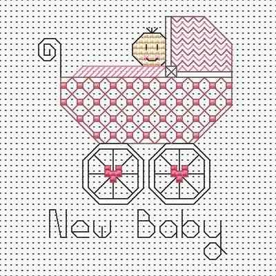 Blackwork Baby Girl card kit