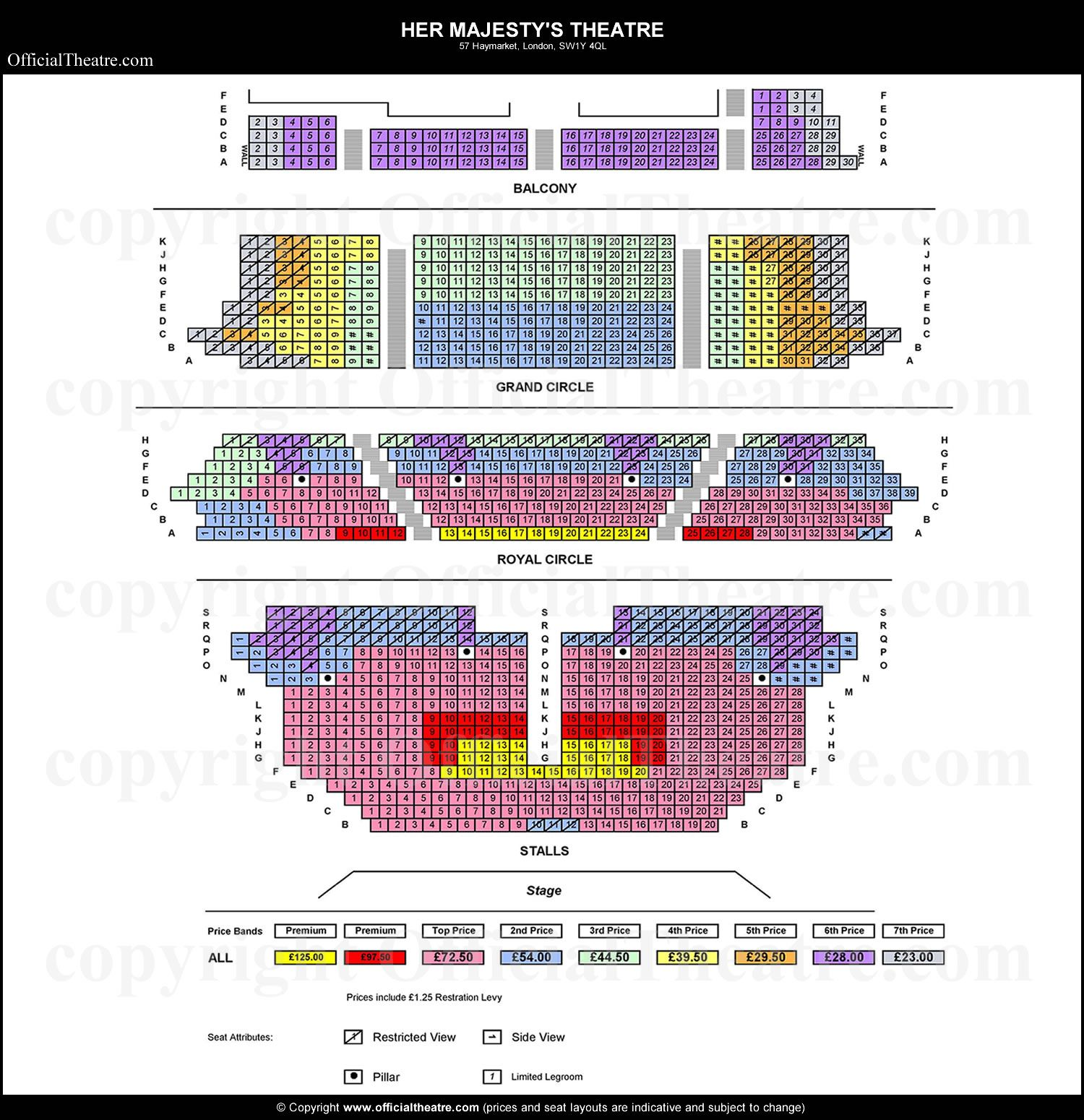 Her Majesty S Theatre Seat Prices Phantom Of The Opera Seating Plan Seating Charts Theater Seating