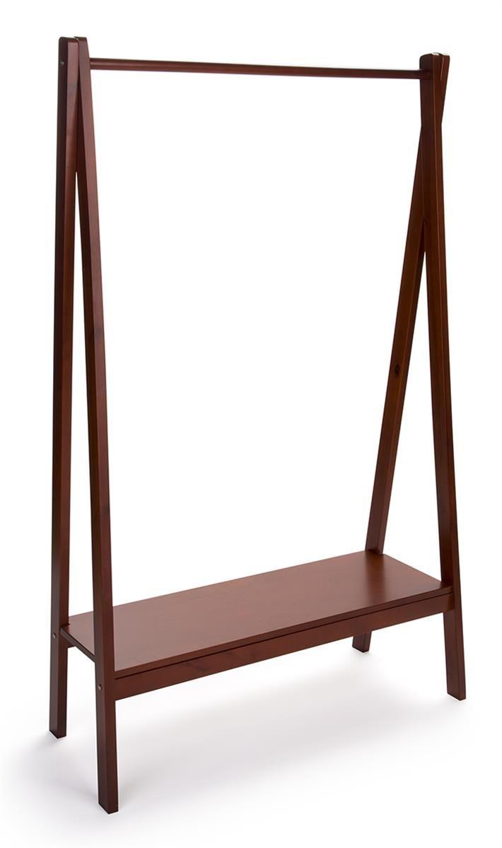 Wooden teepee clothes rack with rail u base shelf cherry