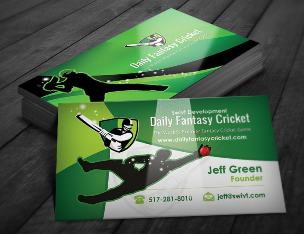 Business Card Design By Creationz2011 For Daily Fantasy Cricket Cricket Businesscard Design Designcrowd Spor Business Card Design Card Design Design Crowd