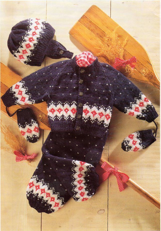 baby fair isle cardigan trousers hat mitts knitting pattern pdf DK ...