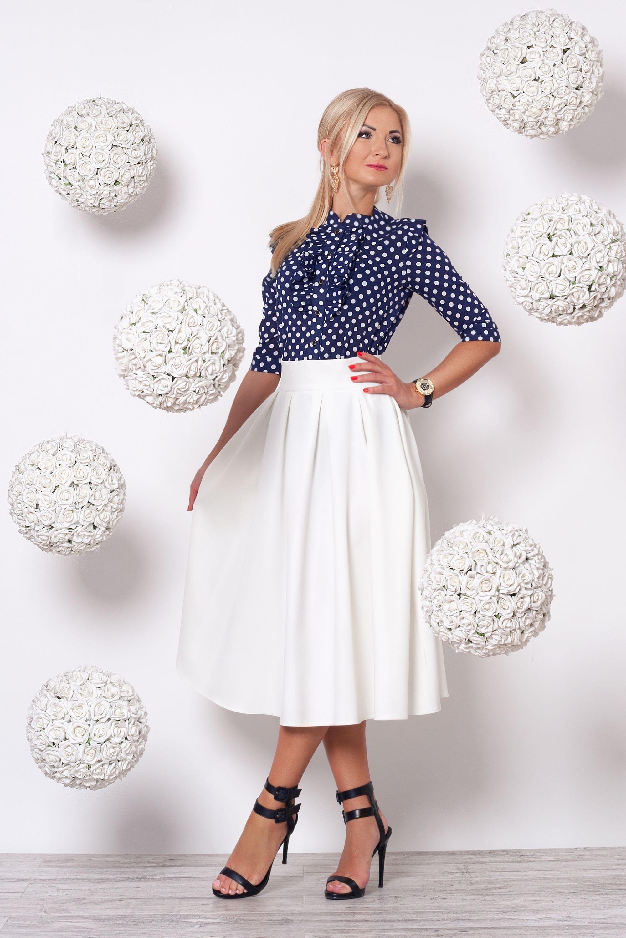 0a550c7de373 Костюм тёмно-синяя блуза и молочная юбка от украинского ...
