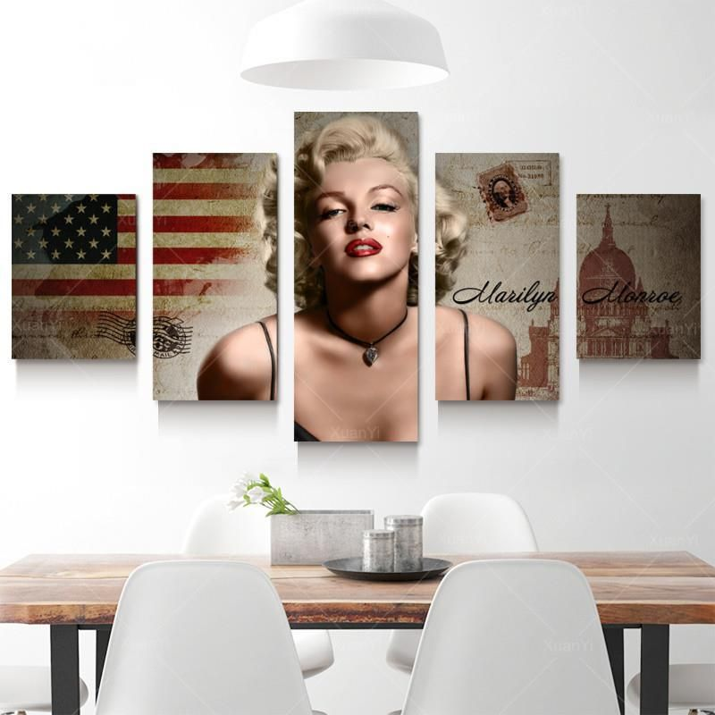 5 Panel Marilyn Monroe Oil Canvas Painting Picture Wall Art Home Decor For  Bed Room Living