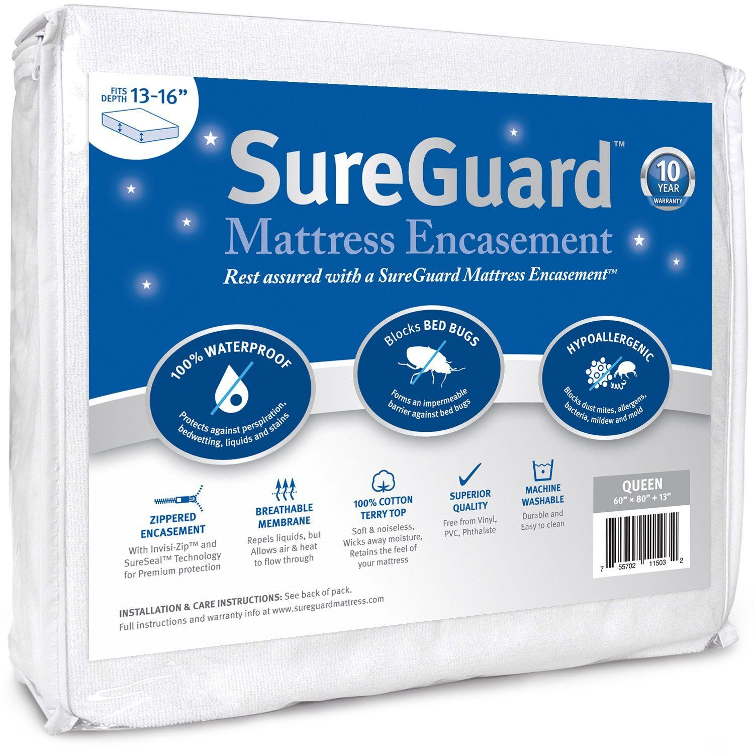 Set of 2 Queen MALOUF Sleep Tite Encase OMNIPHASE Bed Bug Proof Waterproof Temperature Regulating Pillow Protector