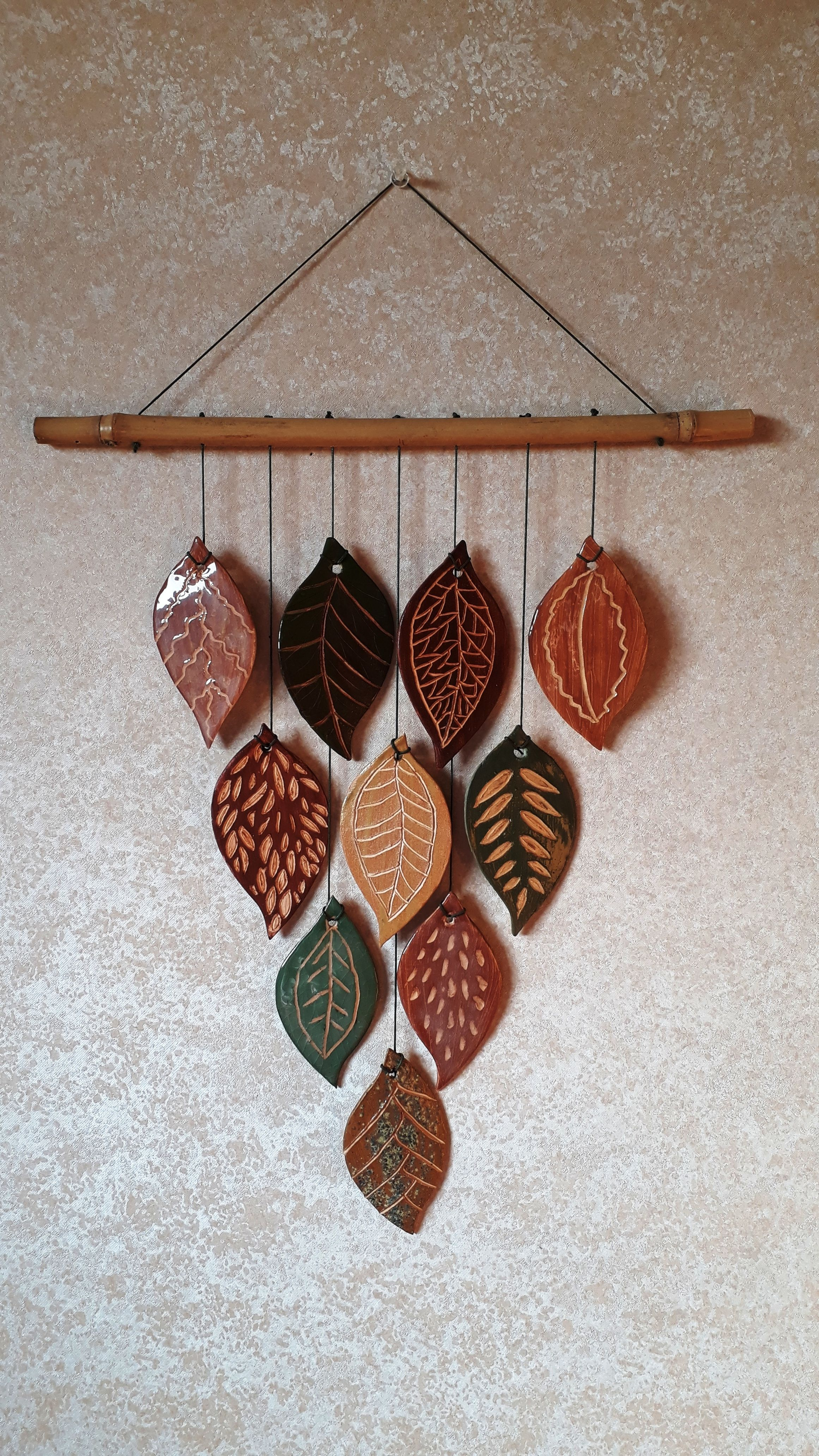 Ceramic leaves wall decor #slabpottery