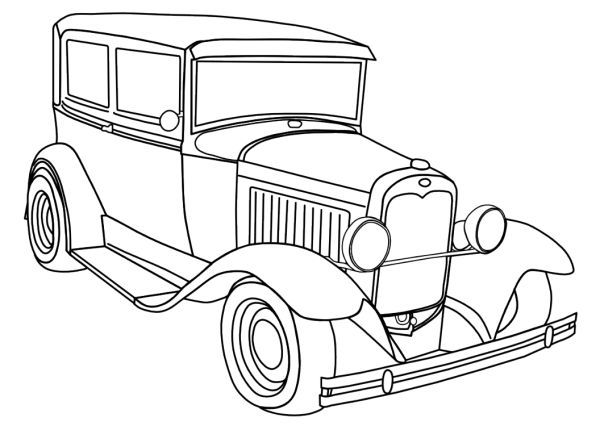 Printable Antique Cars Coloring Pages
