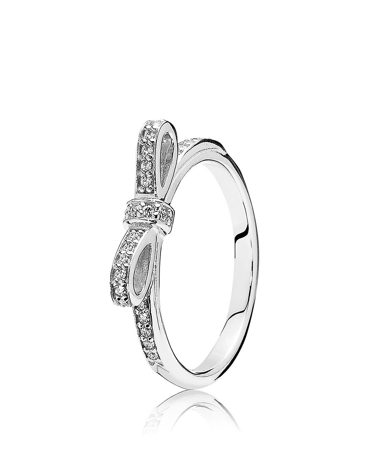 7e64e843b PANDORA Ring - Sterling Silver & Cubic Zirconia Sparkling Bow |  Bloomingdale's