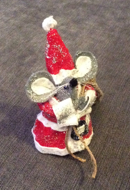 Handmade felt Santa mouse Christmas decoration by ThePricklyPincushion on Etsy