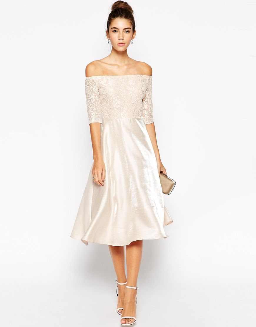 Image 4 of True Decadence Petite Lace Bardot Midi Prom Dress ...