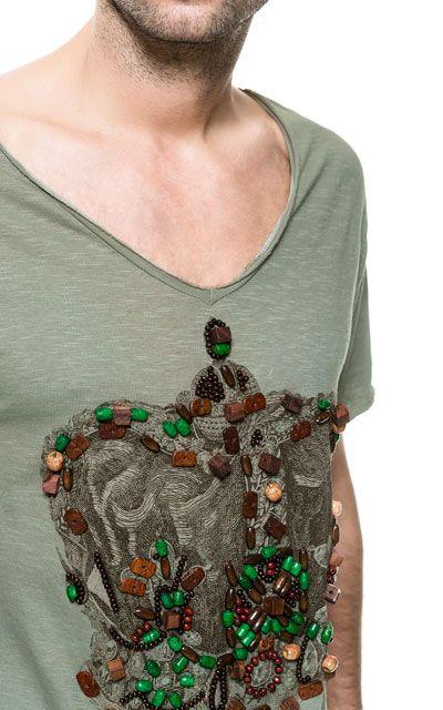 画像 4 の ハンド刺繍Tシャツ ザラから