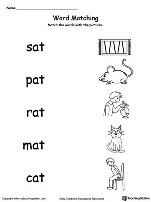 AT Word Family Picture and Word Match | Worksheets, Phonics and ...