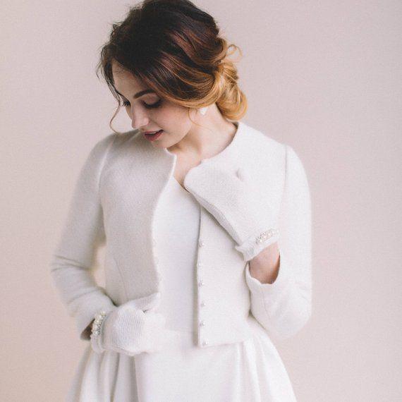 ae908fb1 Bridal coat, Wedding cashmere jacket, Bridal cover up, bridal bolero,  Bridal wool jacket, White wool