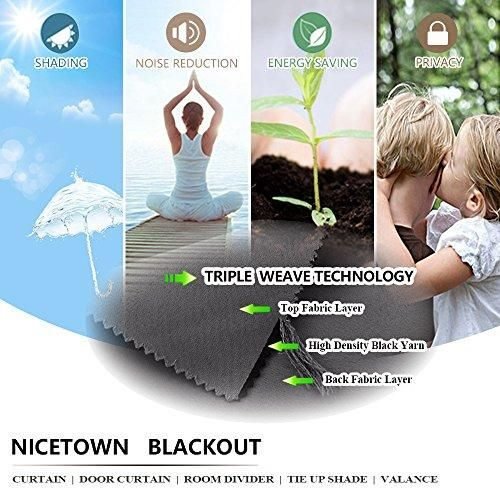 NICETOWN Thermal Insulated Grey Blackout Curtain