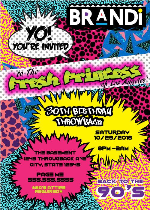 90u0027s Theme Fresh Prince Princess Hip Hop - Digital Birthday - fresh invitation 60th birthday party templates