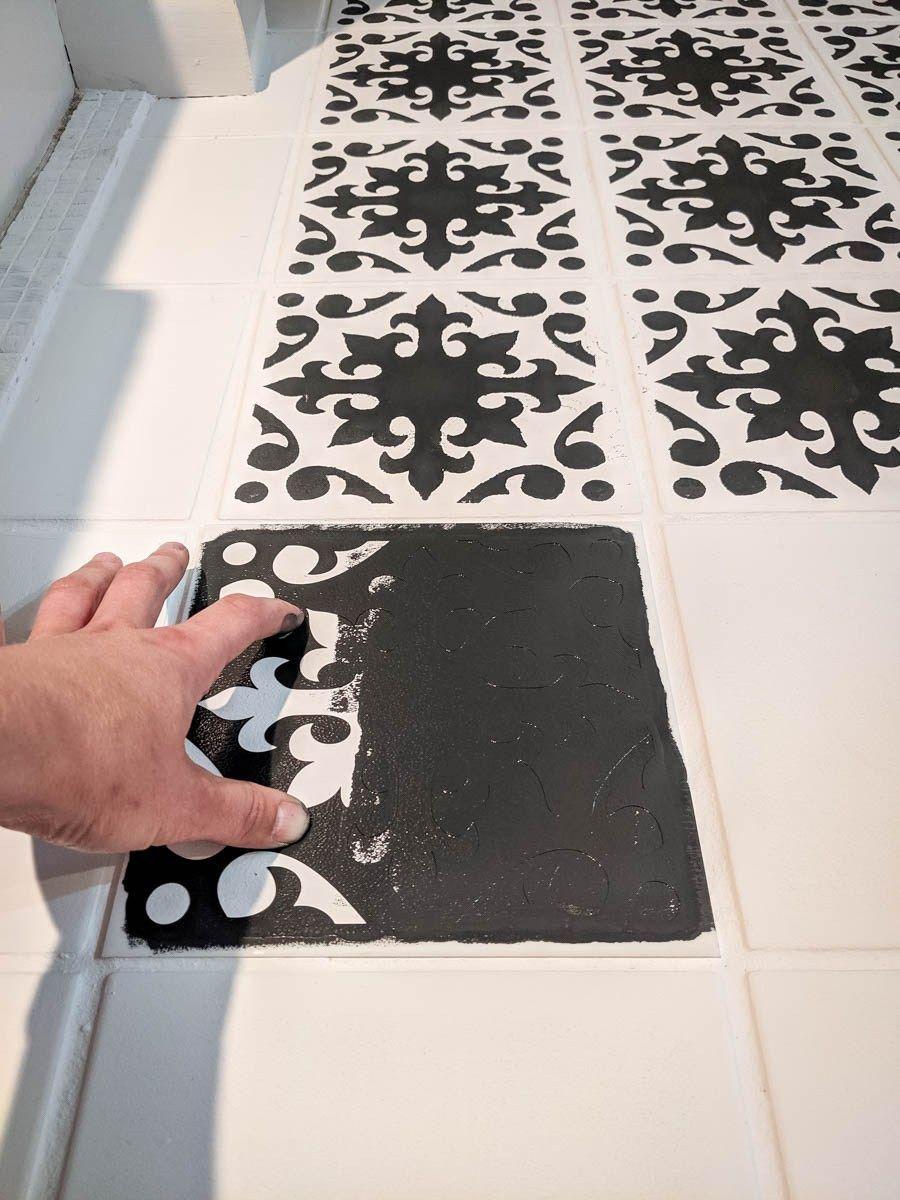 A Bathroom Update How To Paint Your Bathroom Tile Floor Home Painted Floor Tiles Bathroom In 2020 Painting Bathroom Tiles Tile Floor Bathroom Floor Tiles