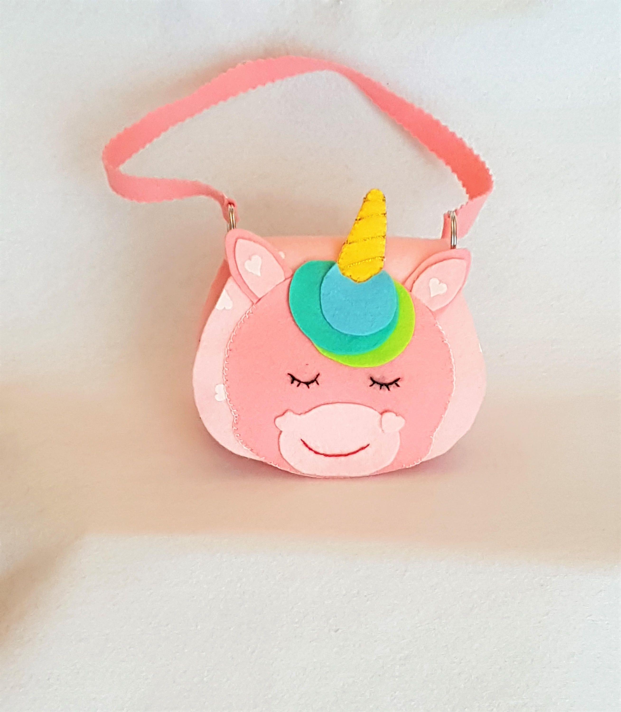 Borsa unicorno, borsetta bambina, borsetta in feltro