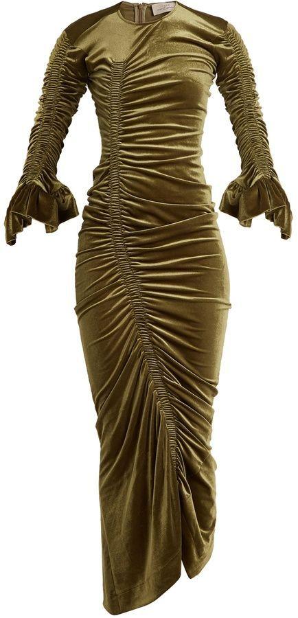 Hitch ruched-detail velour dress Preen Choice Cheap Price Official Cheap Online CHR4DU9