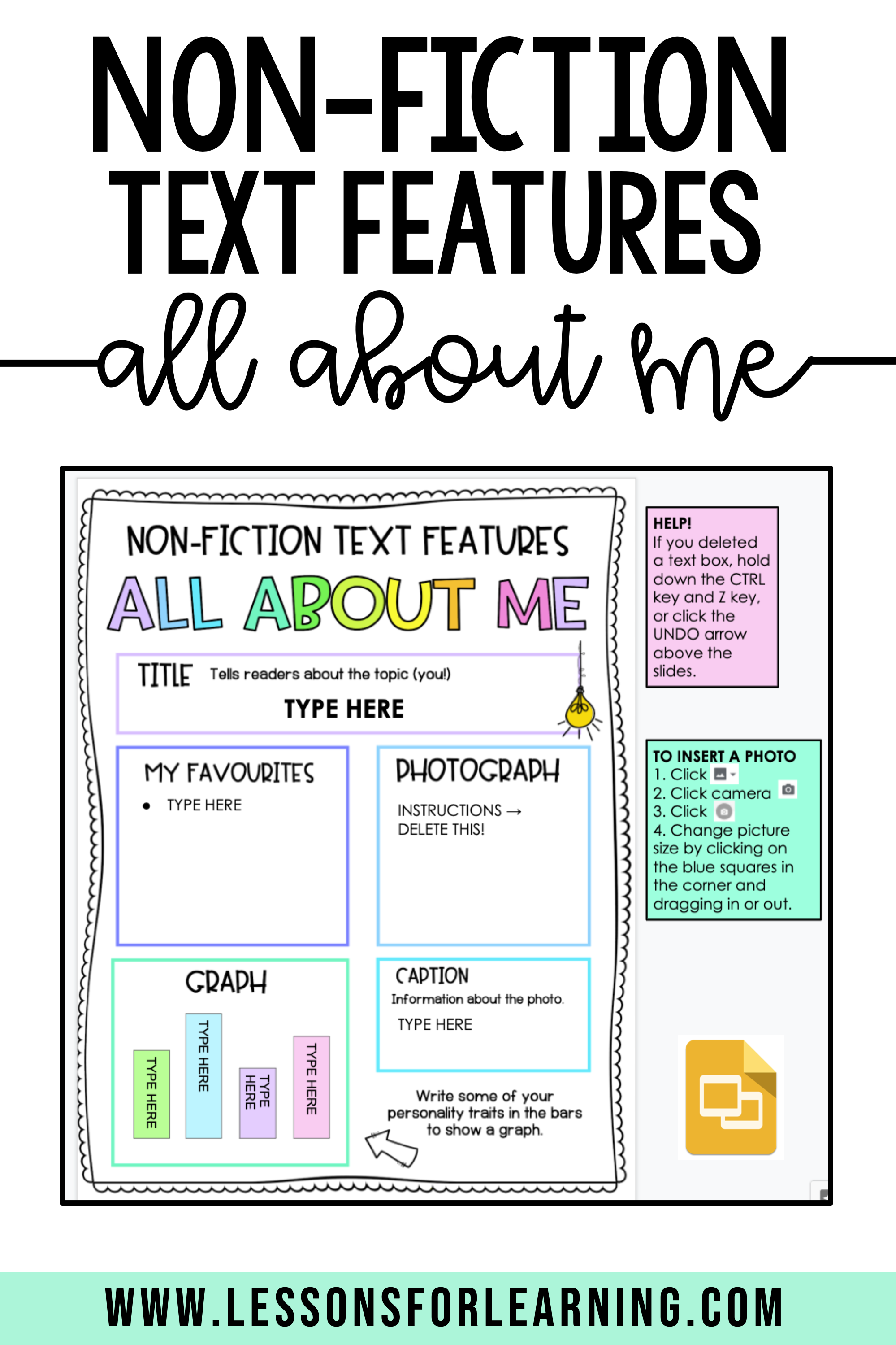 Non-Fiction Text Features All About Me Distance Learning Freebie in 2021    Nonfiction texts [ 2999 x 1999 Pixel ]