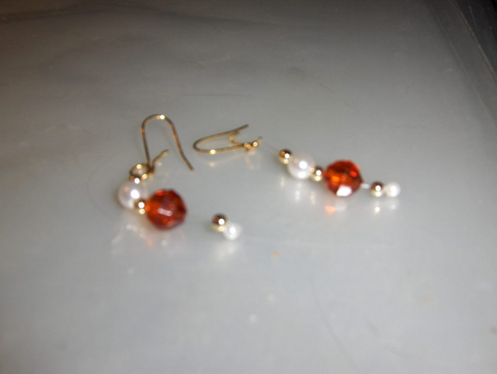 "Root Beer Brown ""Pearl Drops"" earrings --- $1.00 + $3.00 shipping in the USA"