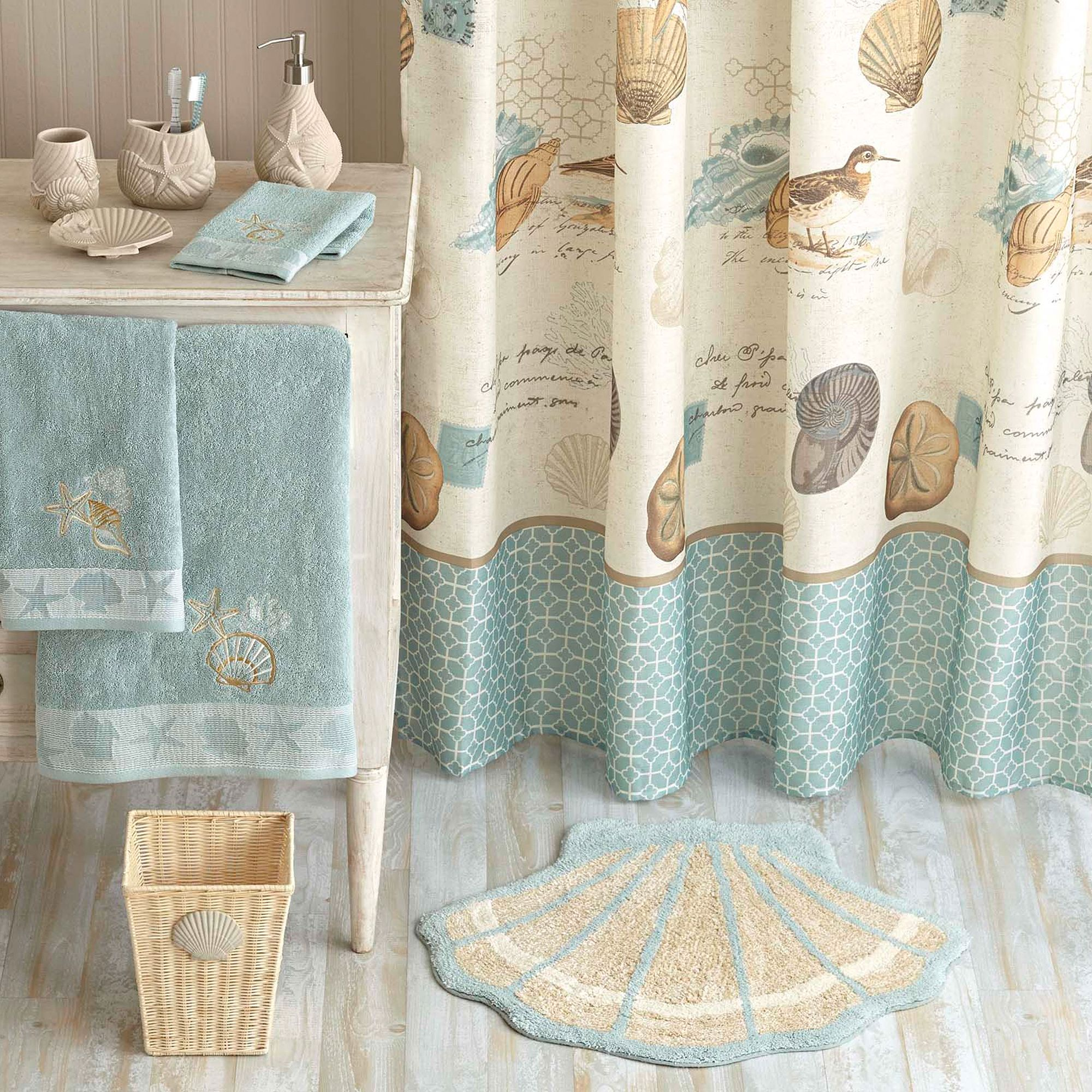 Bathroom Ocean Themed Fabric Shower Curtain Ideas Cheap Beach Curtains Better Homes And Gardens Seashell Bathroom Decor Beach Bathroom Decor Seashell Bathroom
