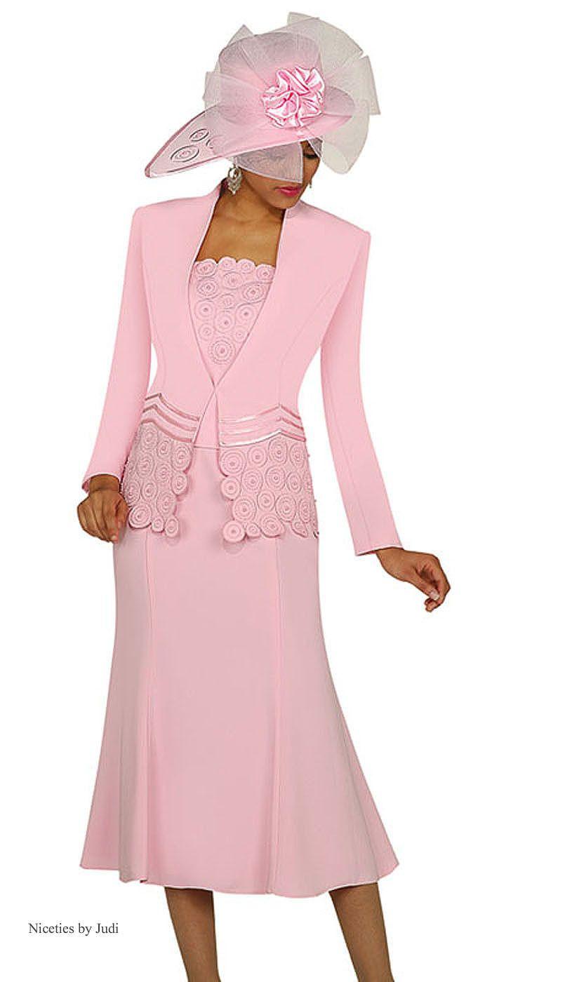 Gmi 3262 Womens Pink 2 Piece Renova Pearl Skirt Jacket Church Suit