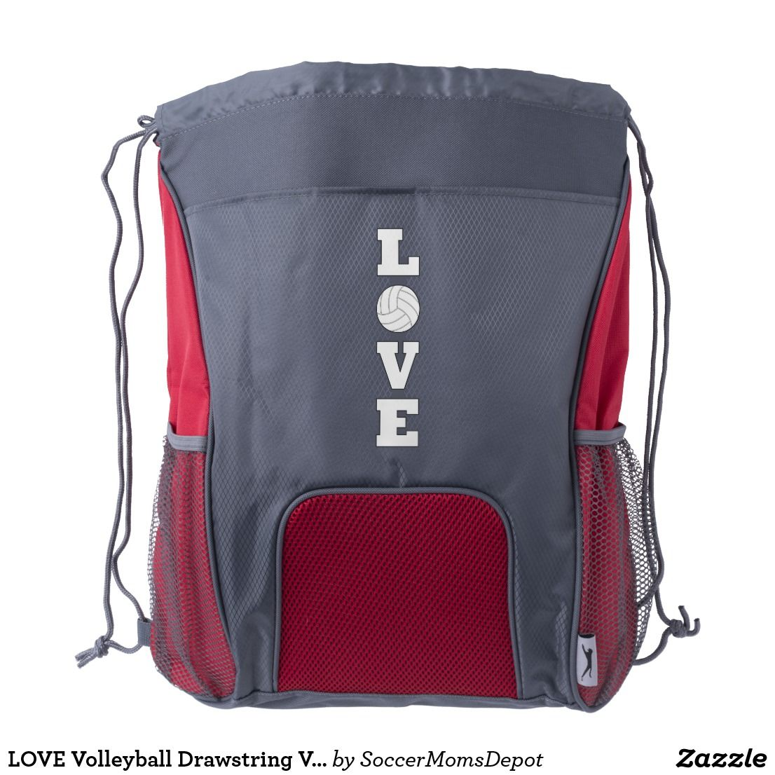 Love Volleyball Drawstring Volleyball Player Bag Zazzle Com Drawstring Backpack Backpacks Customized Drawstring Backpack