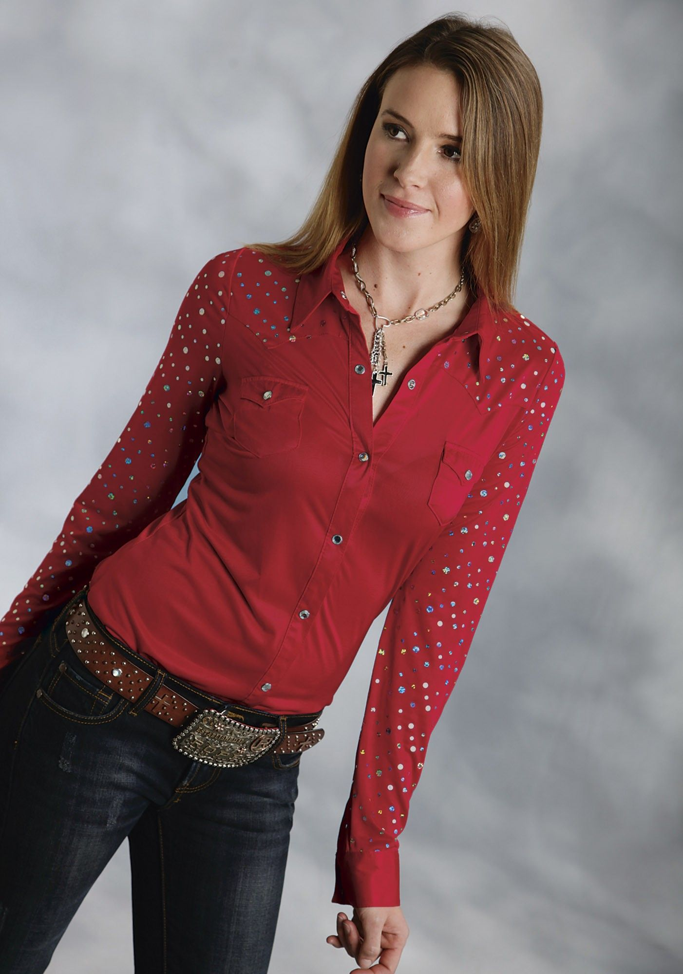 a8f09ce712e Roper® Women s Red Sequined Long Sleeve Rhinestone Snap Western Show Shirt