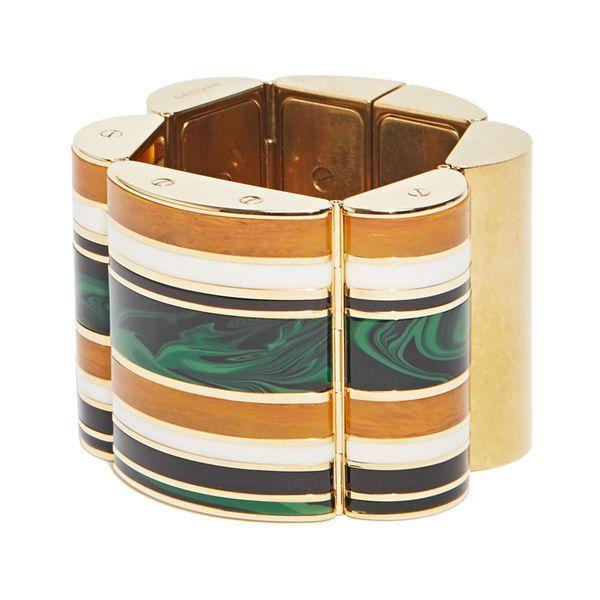 Lanvin Pre SS16: Lanvin Striped Gold Cuff Bracelet (€760) ❤ liked on Polyvore featuring jewelry, bracelets, black, black cuff bracelet, gold bangles, gold cuff bracelet, lanvin jewelry and black bangles