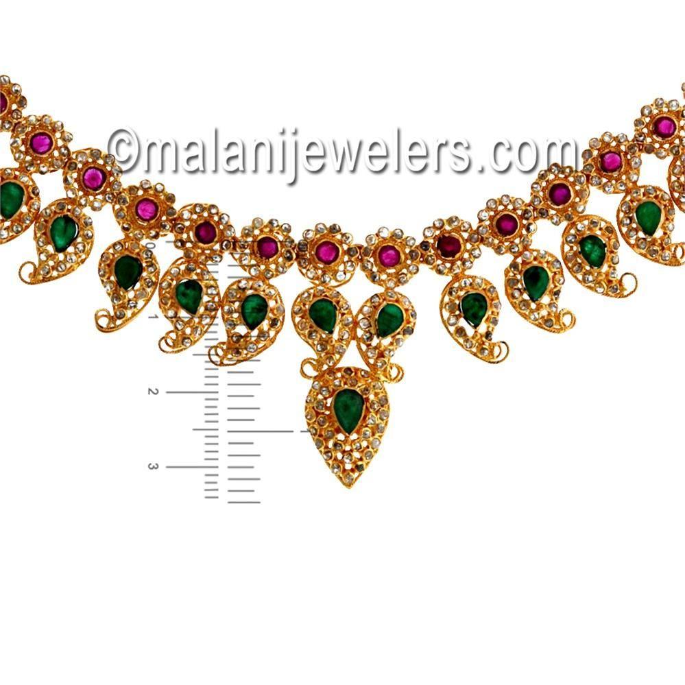 Diamond villandi elegant ruby emerald necklace set karat gold