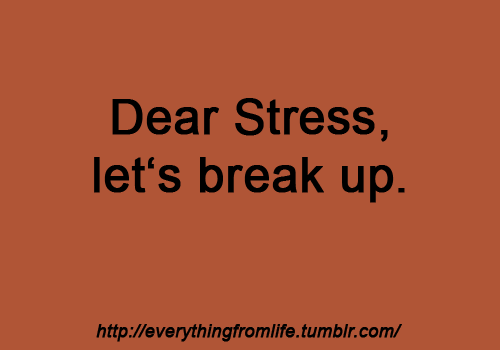 Although I'd probably have a breakdown if I didn't have all my stressors lol