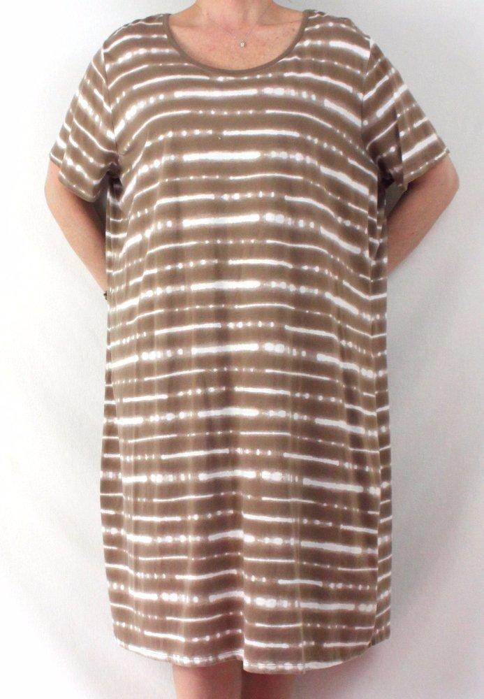 Qvc Dress 3x Size Brown White Tye Dye Soft Cotton Rayon Casual Plus