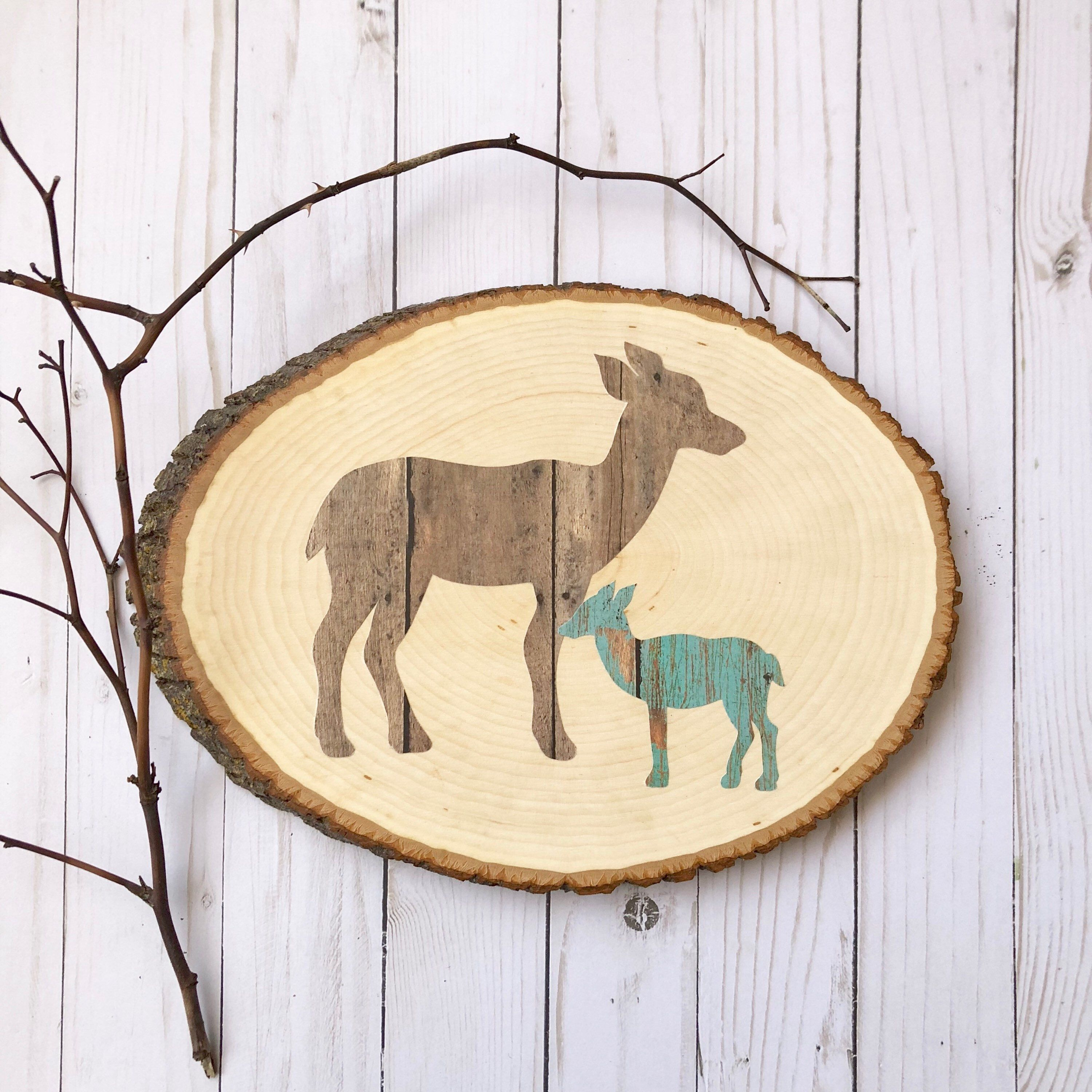 Woodland animal deer deer family wood slice deer silhouette wall
