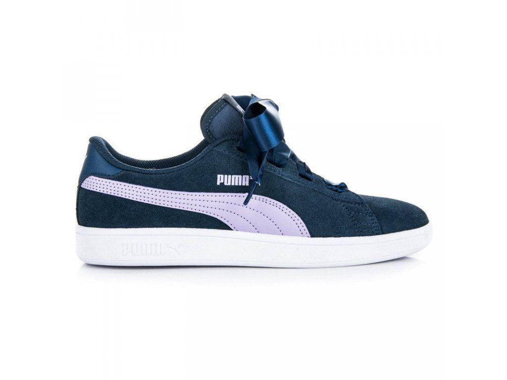 de5a455e2bf9b Dámske modré tenisky Puma Smash V2 Ribbon JR Koža | Pinterest | Pumas