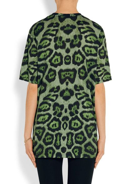 Givenchy - T-shirt In Green Leopard-print Cotton-jersey - x small
