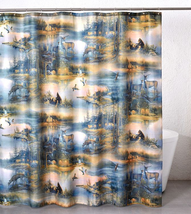 Cabin Retreat Shower Curtain Fabric Shower Curtains Shower Panels Cabin