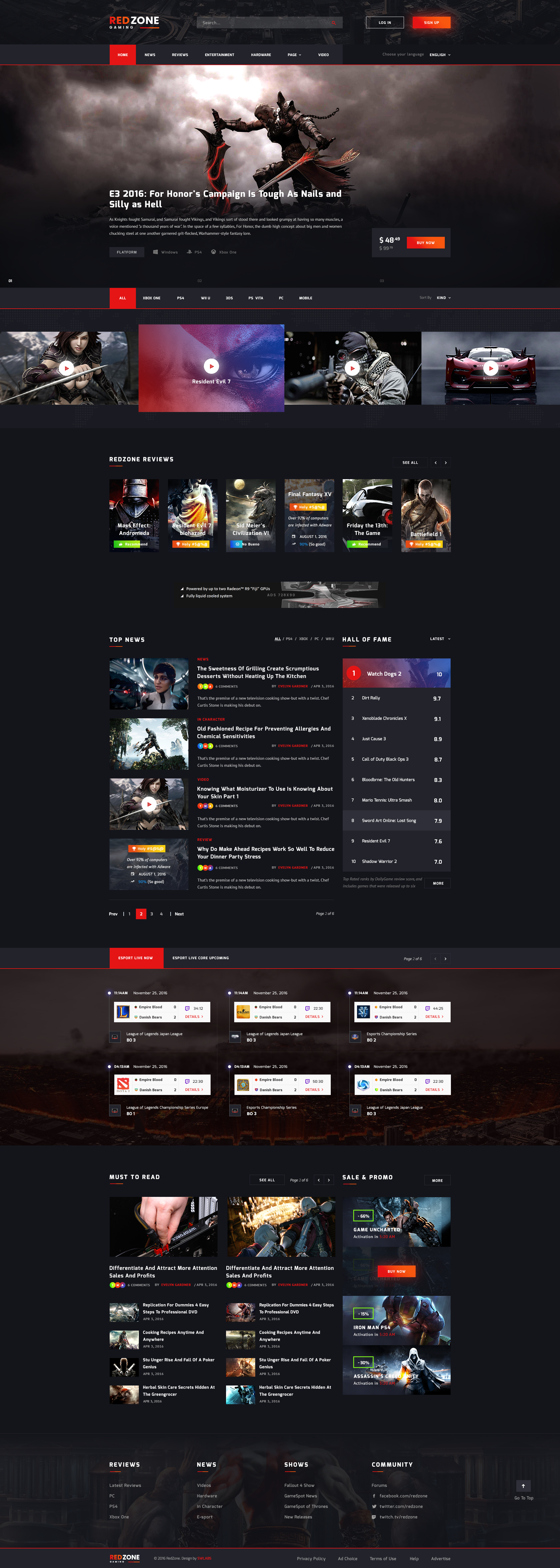 Red Zone Game Psd Template Blog Review Portal Community 웹디자인 웹사이트 디자인