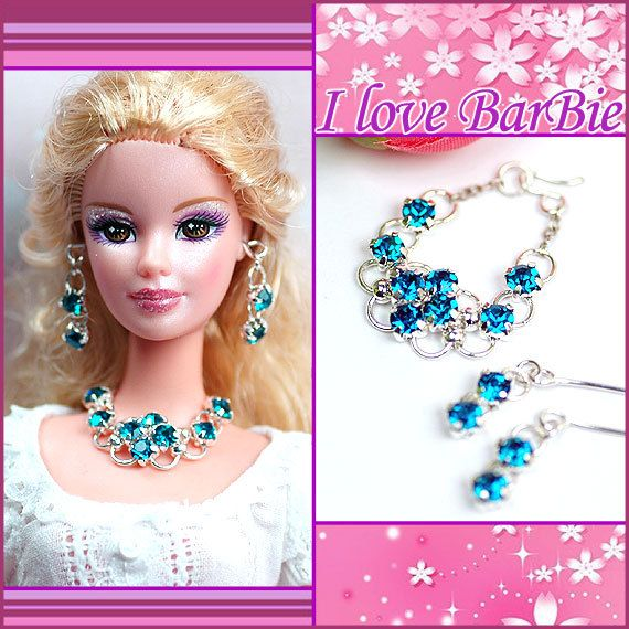 barbie doll jewelry set barbie red Rhinestone necklace and earring. barbie doll jewelry set barbie red Rhinestone necklace and earring