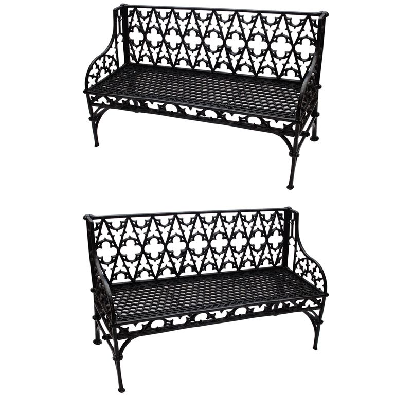 Pair Of Cast Iron Gothic Garden Benches 1stdibs Com Black Patio Furniture Wrought Iron Garden Furniture Gothic Garden