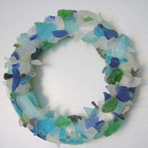 Beach Decor Sea Glass Wreath - Beach Glass Wreath in Aqua, Blue, and Green. $100.00, via Etsy.