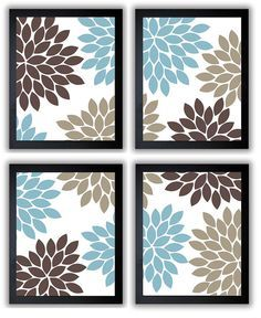 flower print blue brown beige chrysanthemum flowers set of 4 square art print wall decor modern minimalist bathroom bedroom living room - Bathroom Decorating Ideas Blue And Brown