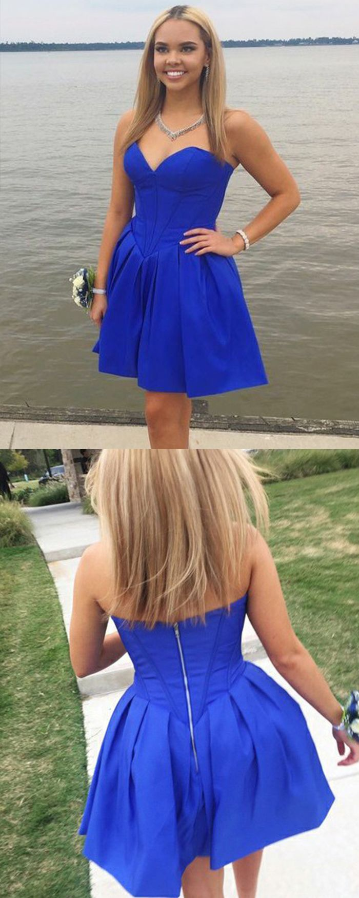 Simple sweetheart satin blue pleated homecoming dress hd in