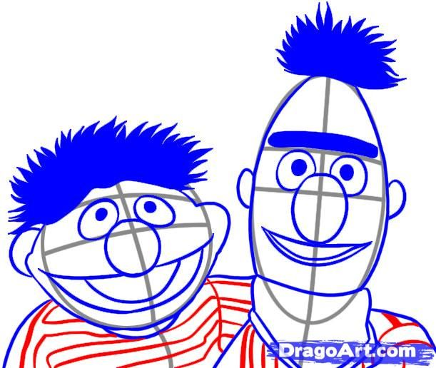 How to draw Bert & Ernie... to make party decoration.