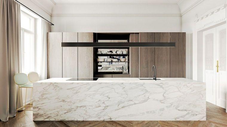 Déco cuisine marbre à travers une galerie d\'intérieurs design