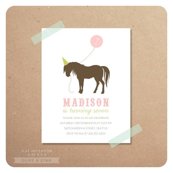 horse pony birthday invitation set by oliveandstar on etsy, $16.50, Party invitations