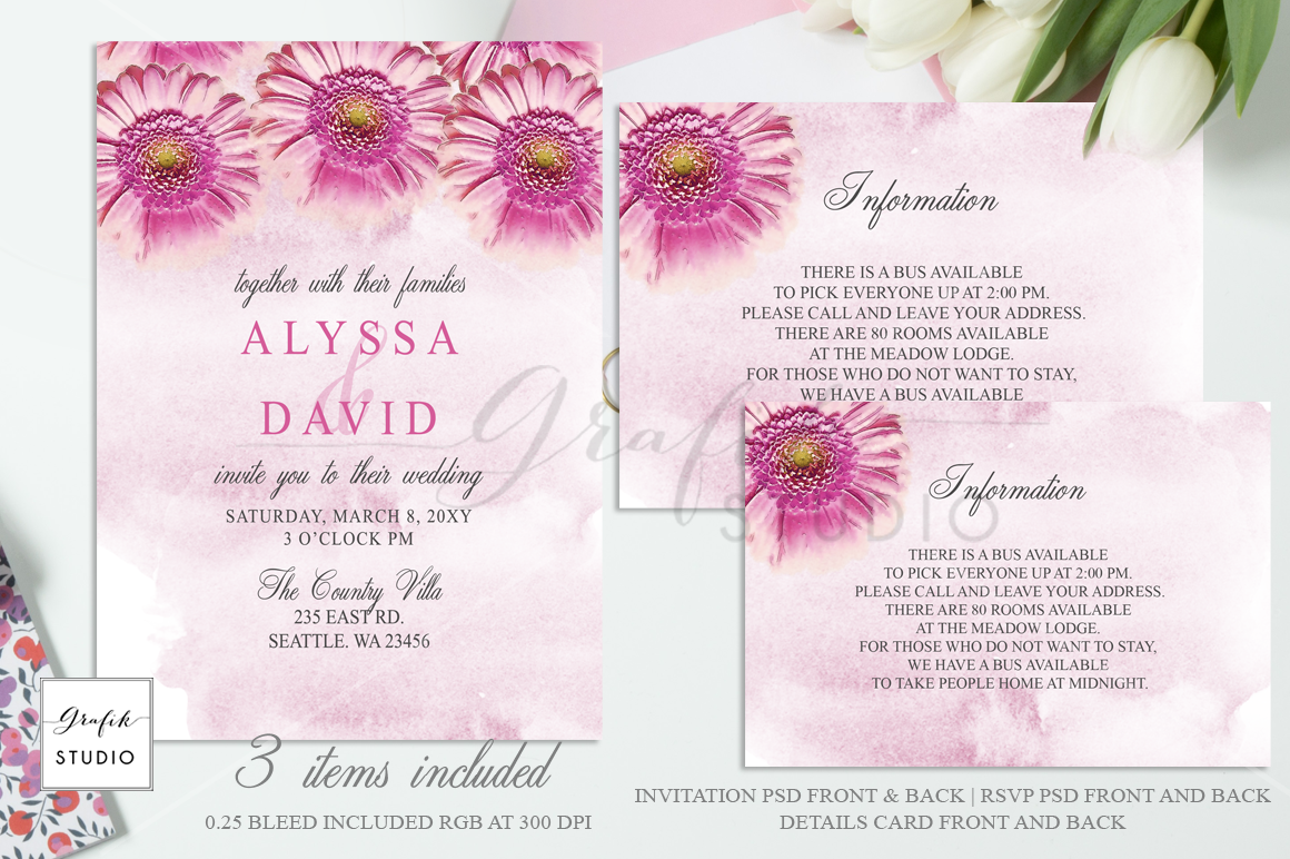 Download Pink Daisies Floral Wedding Invitation Template Today We Have A Huge Rang Wedding Invitation Templates Floral Wedding Invitations Wedding Invitations